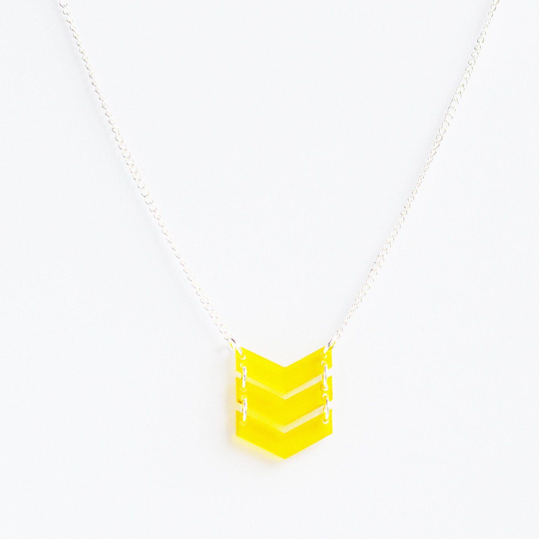 Bright transparent yellow laser cut acrylic triple chevron necklace ...