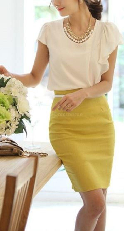 Women\'s Slim Retro Casual High Waist Bag Hip Knee Length Office Lady ...