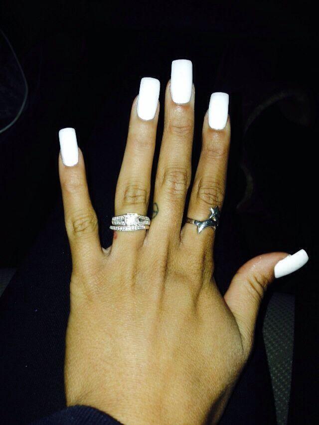 Long white square nails … | KÖRÖM | Pinterest | Square nails, Nail ...