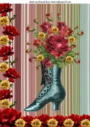 Red Rose Boot Framed Topper
