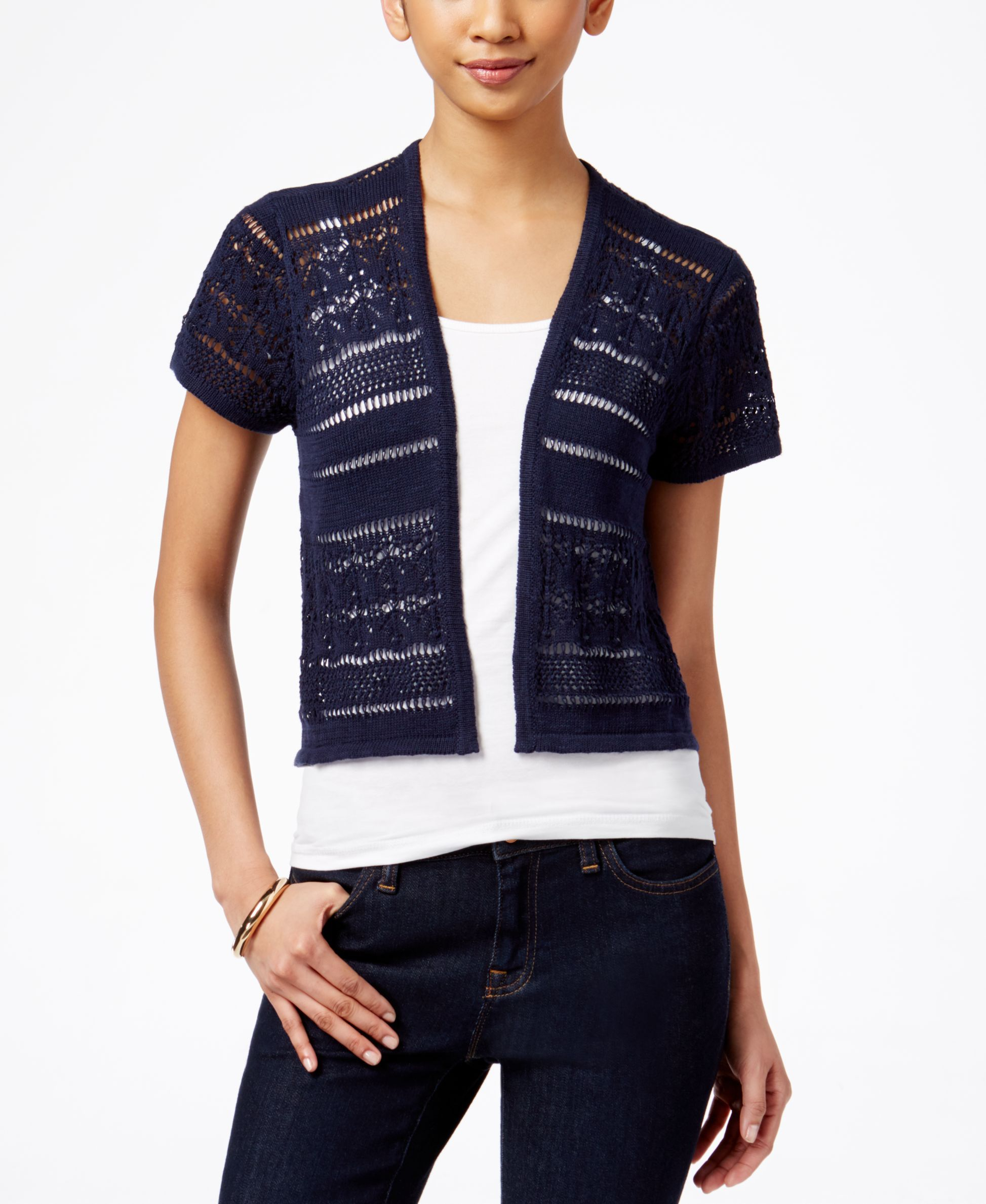 Style & Co. Short-Sleeve Open-Knit Cardigan, Only at Macy's ...