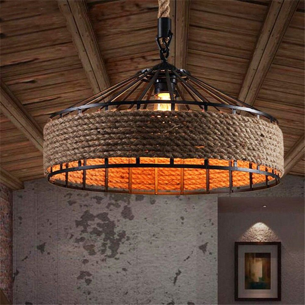 Retro Hemp Rope Pendant Lights Loft Vintage Lamp Led Light Industrial Lighting E27 Bulb Fo Rustic Ceiling Lights Retro Pendant Lights Industrial Pendant Lights