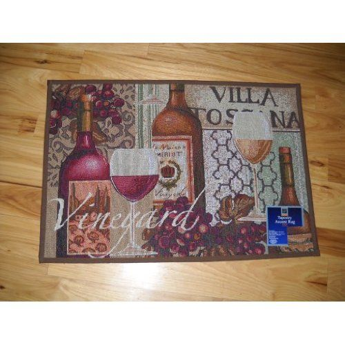 Red And White Wine Kitchen Throw Rug Villa Toscana