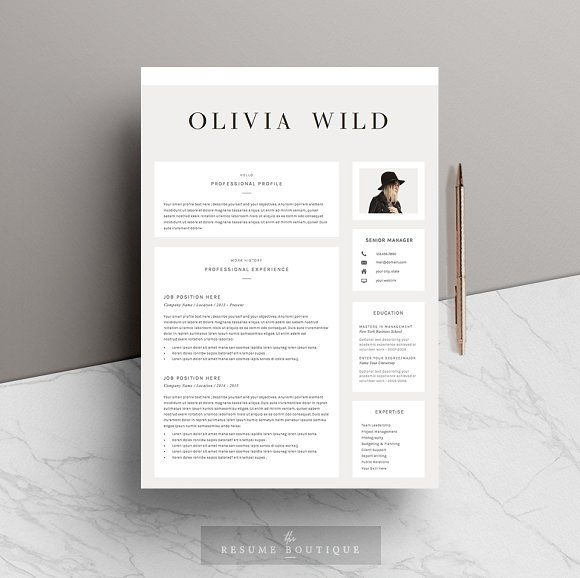 5 Page Resume Template | Ultra Chic By The.Resume.Boutique On  @creativemarket