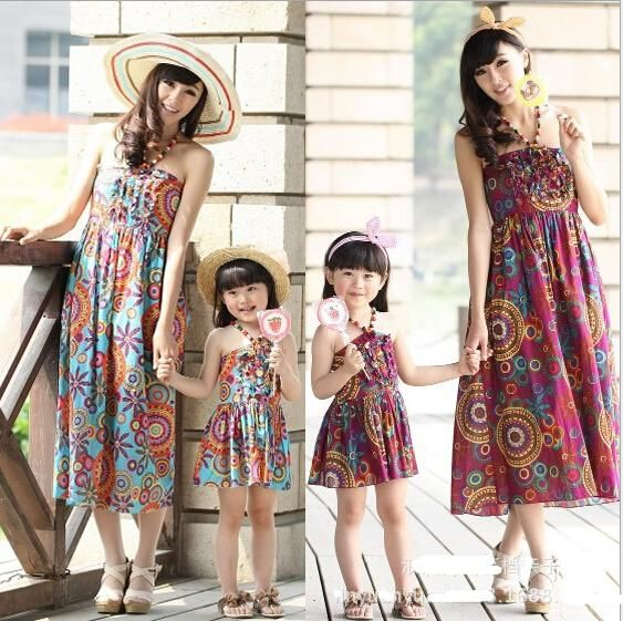 38e315273 Best Mother And Daughter Dresses Family Clothing Bohemia 2015 Summer Beach  Long Dress Mom Baby Floral Print Maxiskit Women Kids Matching Clothes Under  ...