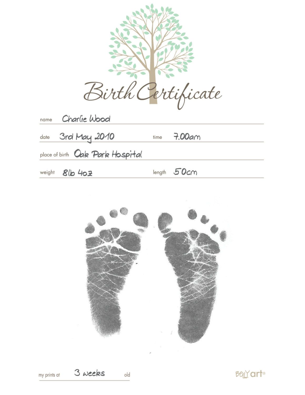 Inkless Birth Certifcate Kit By Bellyartkeepsakes On Etsy Birth Certificate Template Baby Dedication Certificate Birth Certificate Birth certificate template with footprints