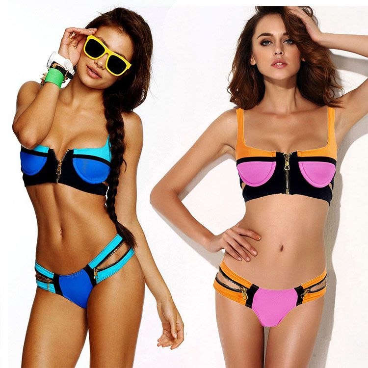 e51cf1b5589ea Fashion Ladies Bandage Bikinis Set Push-up Padded Bra Swimsuit Bathing Suit