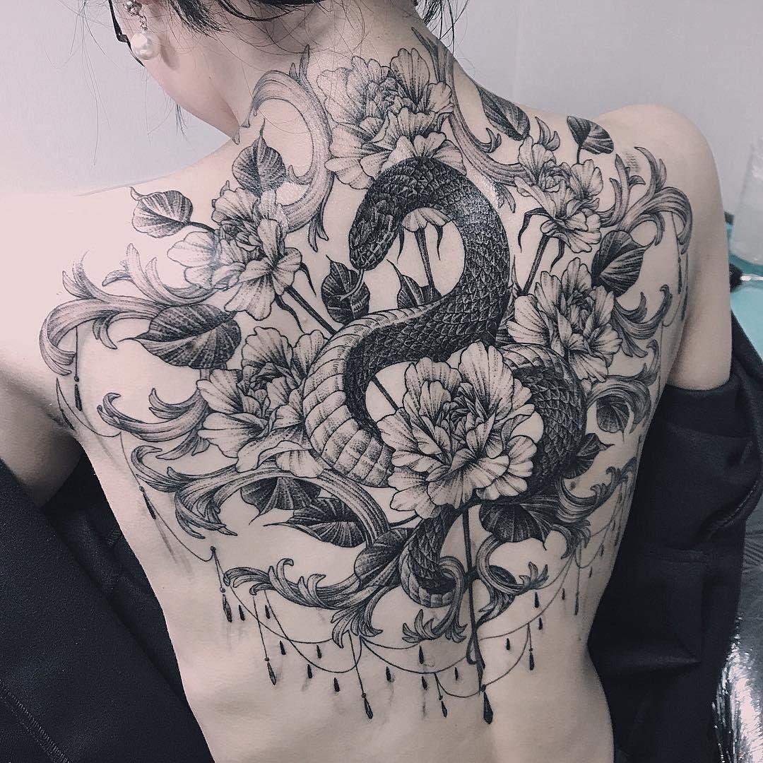 Image result for snake back tattoos Snake tattoo design