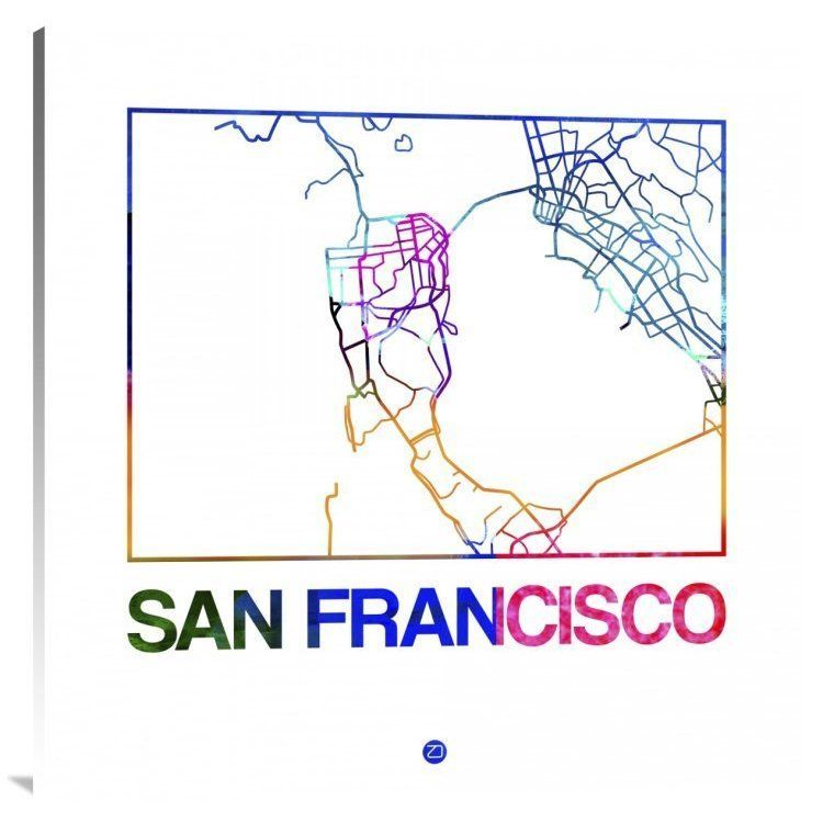 Naxart Studio \'San Francisco Watercolor Street Map\' Stretched Canvas ...