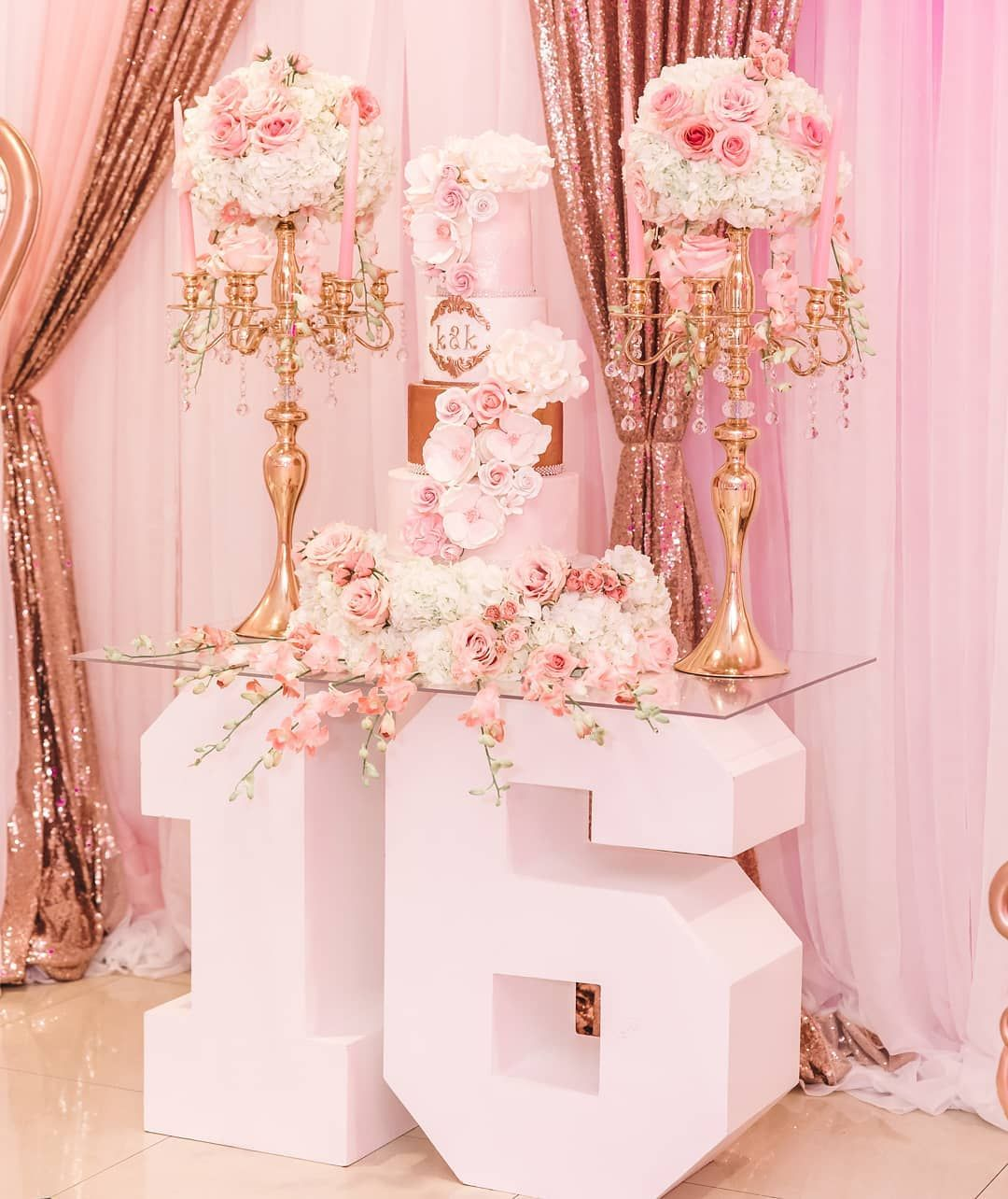"""Glam Occasions on Instagram: """"K&K Sweet 16 Celebration...... Floral by @glam_occasions Cake by @cakesbymadelin Photos by @purroy_photo_video Number table by…"""" #sweet16cakes"""