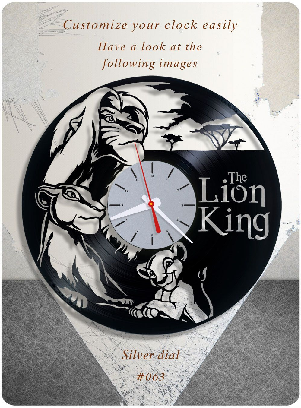 Birthday Gift Home Decorating Ideas Home Decor Holiday Gift Holiday Present Disney Lionking Lion The K Vinyl Record Clock Record Clock Vinyl Record Art