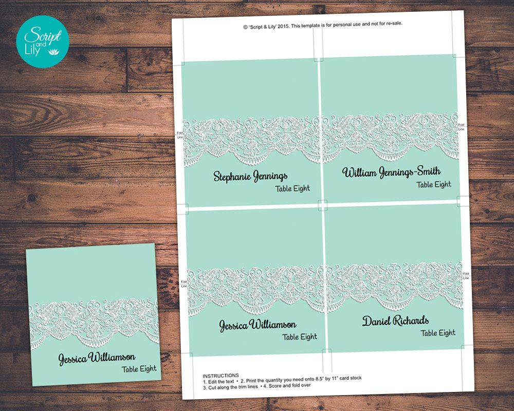 Wedding Guest Name Place Cards Template | INSTANT DOWNLOAD | Print ...