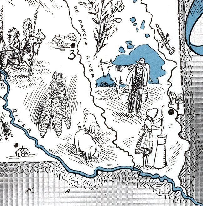 South Dakota SD United States whimsical map by Retrodigitalmaker