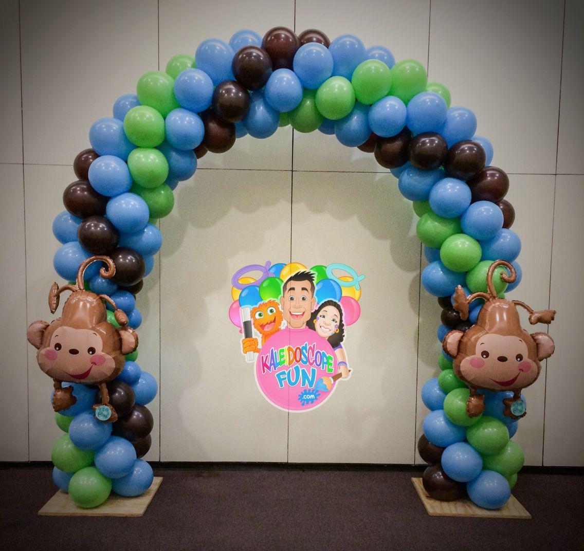 Baby Shower Decorations Baby Monkey Balloon Arch www.kaleidoscopefun.com  kaleidoscopefun@gmail.com 347-945-1857