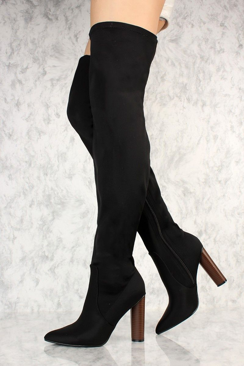 255a8e43b81 Black Lycra Pointy Toe Chunky Faux Wooden Heel Thigh High Boots in ...