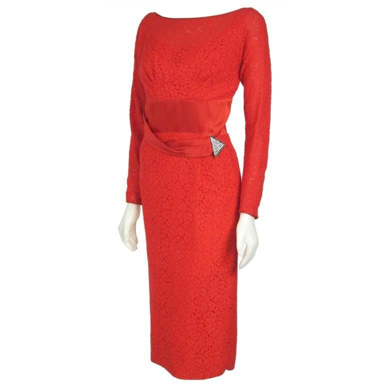 1960s Red Soft Lace Long Sleeves Satin Cumberand Deco Rhinestone Column Dress