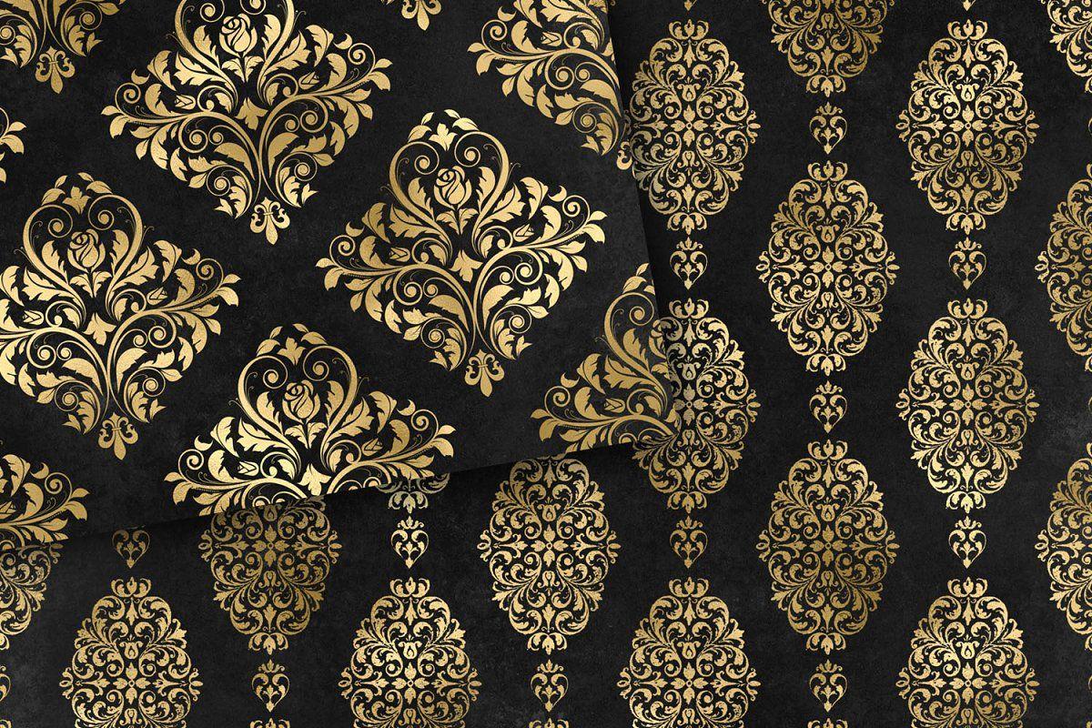 Black And Gold Damask Digital Paper Digital Paper Damask