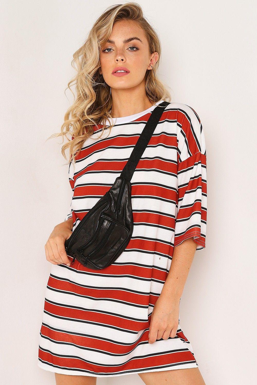 c4112955d133 White Stripe Oversized T-Shirt Dress in 2019