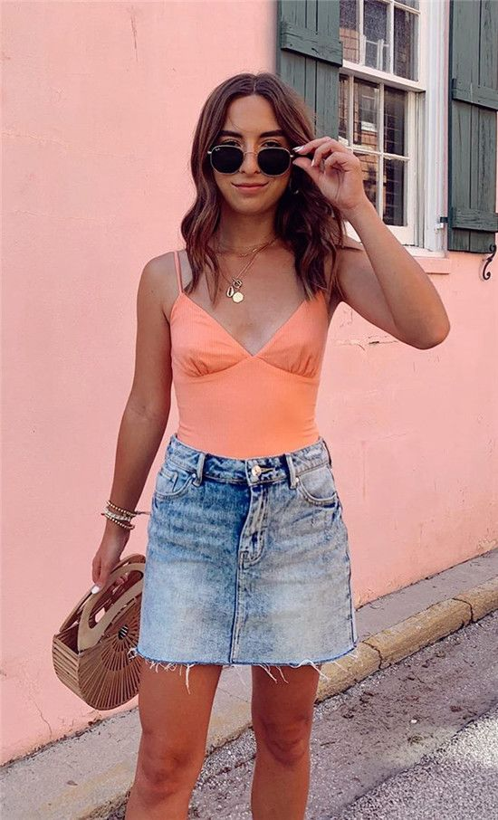 376889ca689 2019 Fashion Outfits - Pink Top With Denim Skirt - ZKKOO