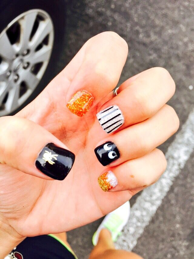Happy Halloween Cute Halloween Inspired Gel Nails For October Gel Nails Cute Nail Designs Cute Nails