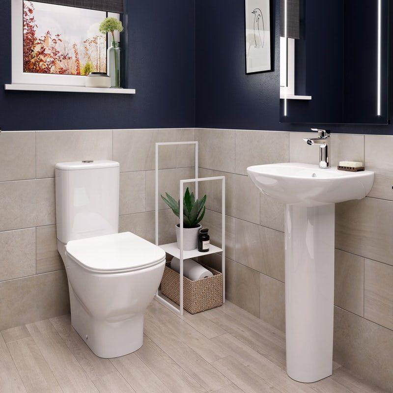Ideal Standard Tesi Cloakroom Suite With Full Pedestal Basin 450mm Cloakroom Suites Pedestal Basin Basin