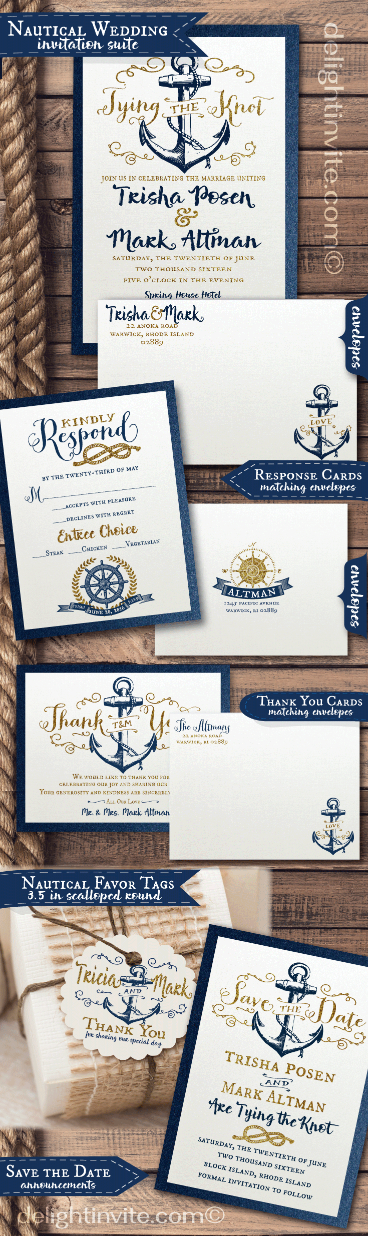 Vintage rustic nautical wedding invitation ensemble from Delight ...
