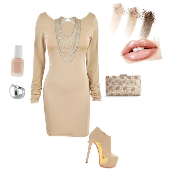 nude colored dress outfit by madeline-fulton on Polyvore