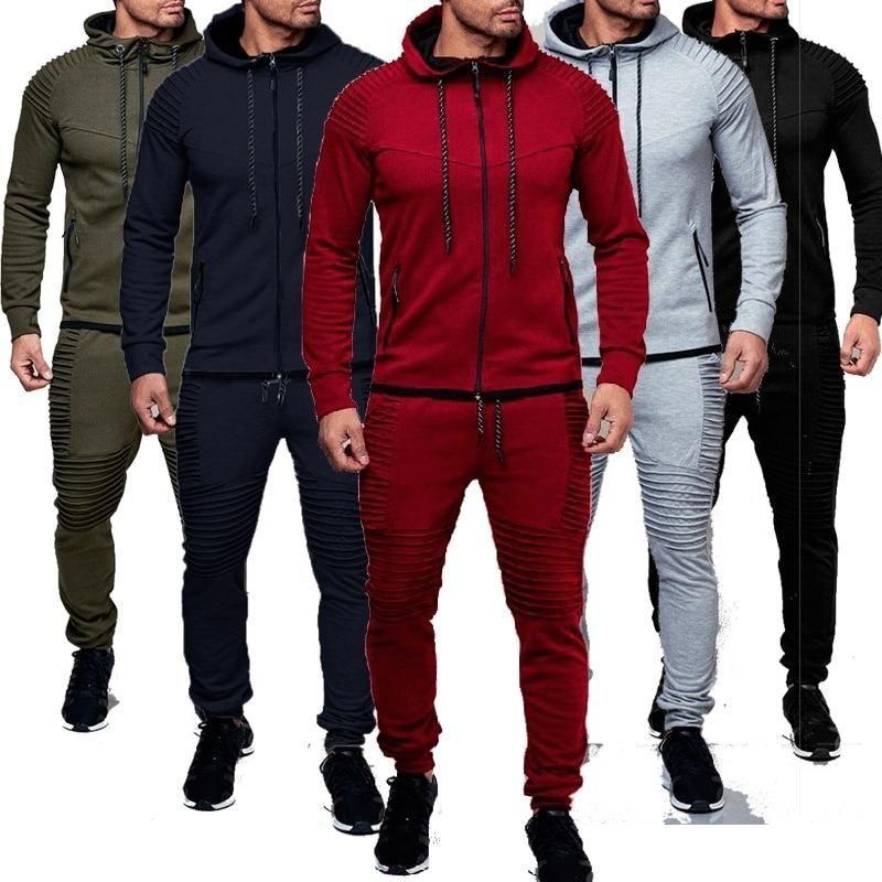 SportsX Men Pure Color Zip Up 2 Piece Set Hooded Tracksuit Jog Set
