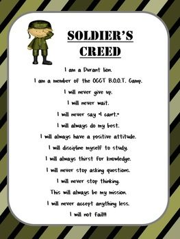 Boot Camp Test Prep Soldier's Creed *Editable*   Reading boot camp ...
