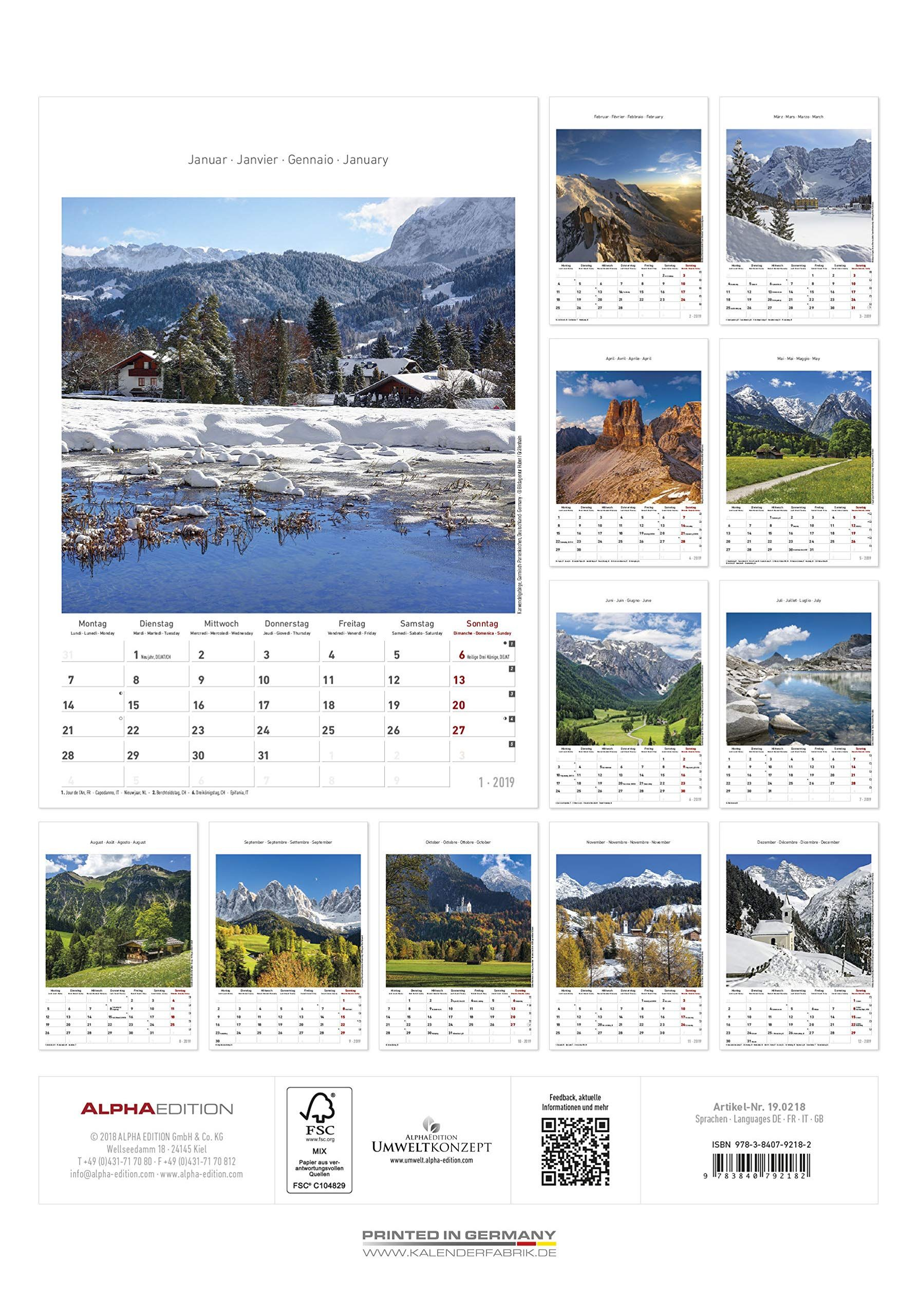 "Calendario da muro /""Alpi/"" 2019 23,7x34 cm"