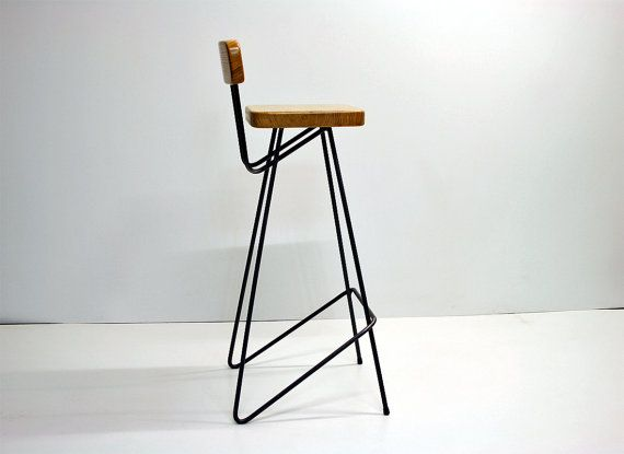 Industrial Bar Stool With Backrest Pure Oak Bright Version