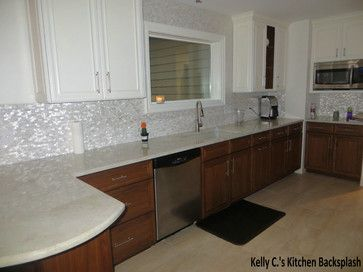 White Brick Groutless Pearl Shell Tile | Tile design, Kitchens and ...