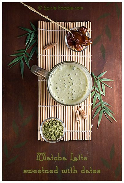 Matcha Latte Sweetened with Dates | #matcha #latte #tea #dates #vegan