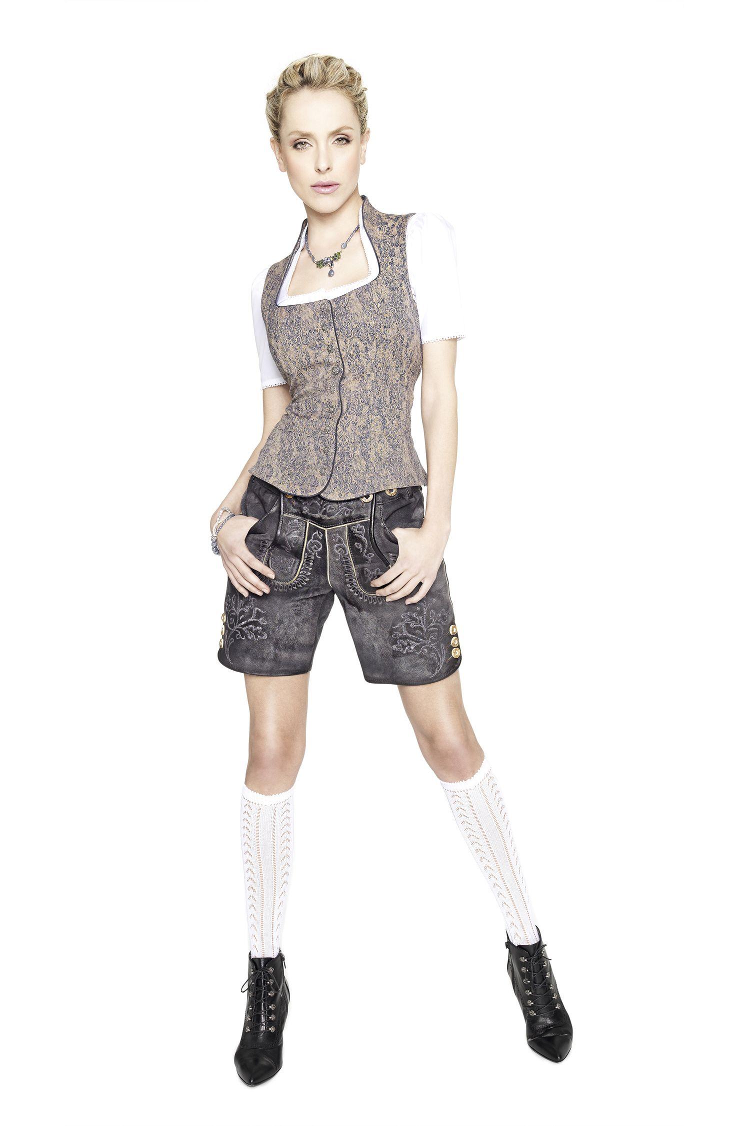 Angermaier Wirliebentracht Wiesn Outfit Lederhose Damen Lederhosen