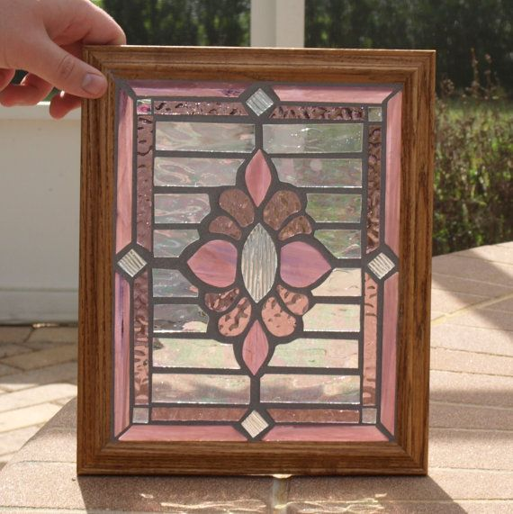 Stained Glass Mosaic Purple Rose Victorian Window by ARTfulSalvage