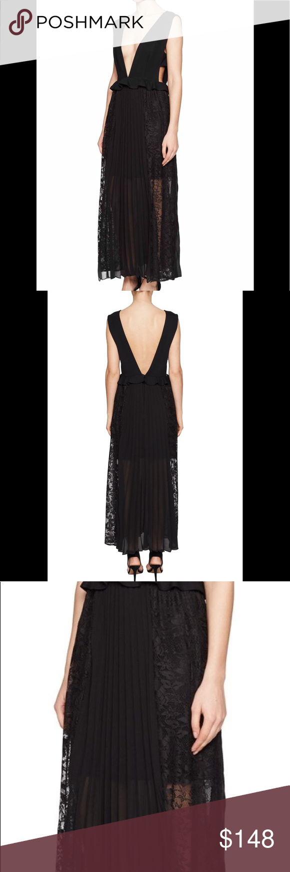 d56498c0248 French Connection Angelina Pleat Lace Jersey Dress Soft jersey down the  plunging neckline and back contrast