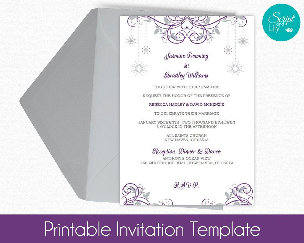best ideas about snowflake invitations winter snowflake invitation template color change diy edit text wedding birthday purple silver grey word or pages 5x7