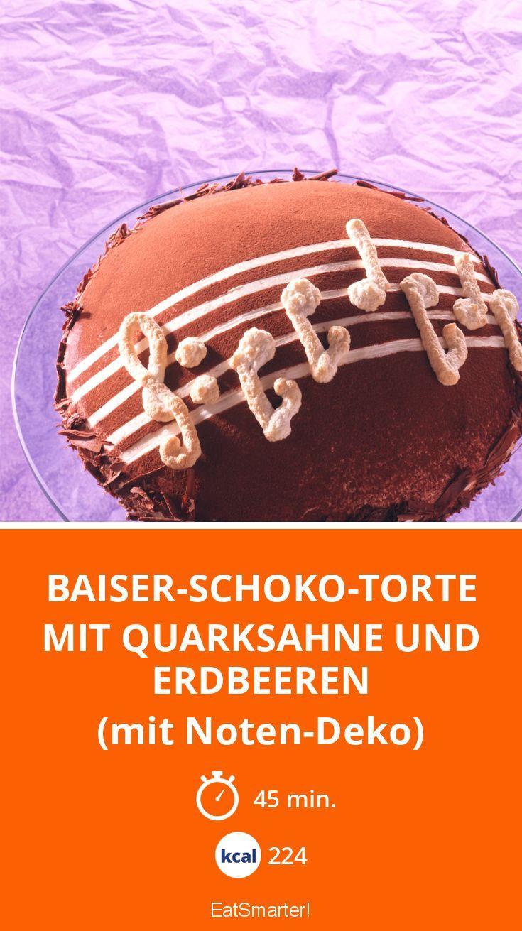 Baiser Schoko Torte Mit Quarksahne Und Erdbeeren Rezept Torten
