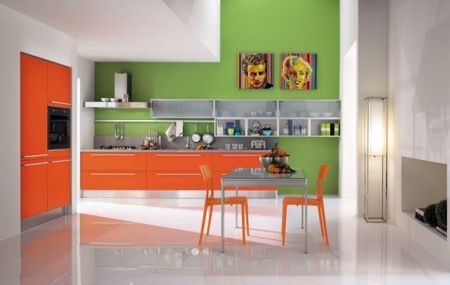 farbgestaltung küchenraum-kräftig orange-grün wand-deko abstrakte - küche deko wand