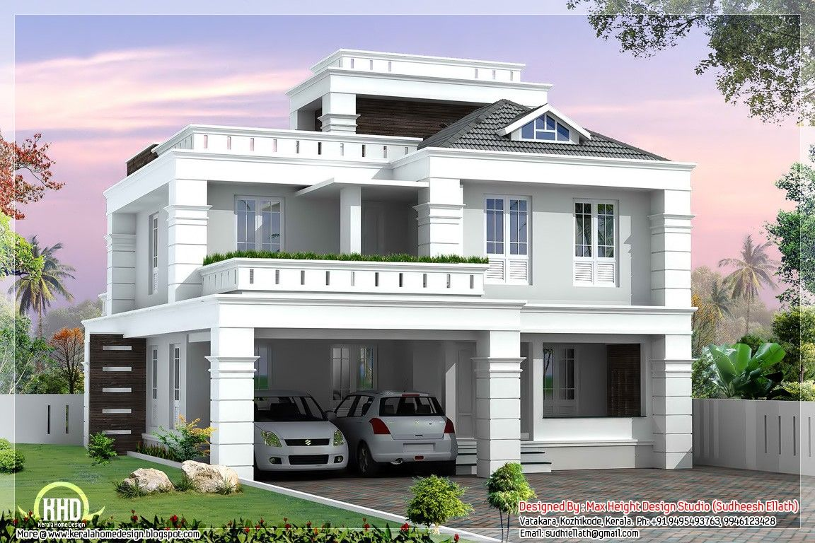 sloping roof house villa design - Kerala home design and floor plans ...