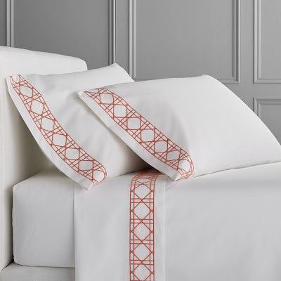 Cane Embroidery Bedding, Sheet Set, Full/Queen, Coral #BedSheets