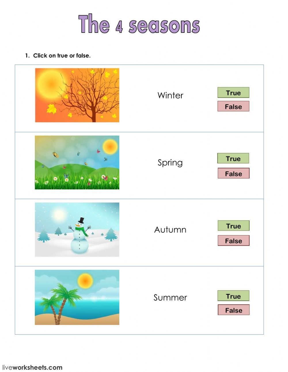 The weather interactive and downloadable worksheet. You can do the  exercises online or download the w…   Seasons worksheets [ 1291 x 1000 Pixel ]