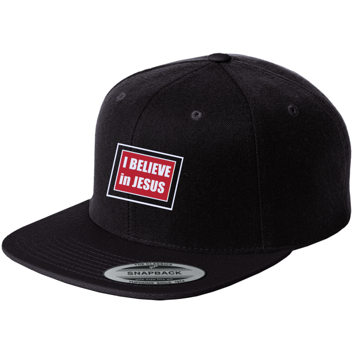 I BELIEVE Embroidered Logo, Flat Bill, High-Profile Snapback Cap (+COLOURS)