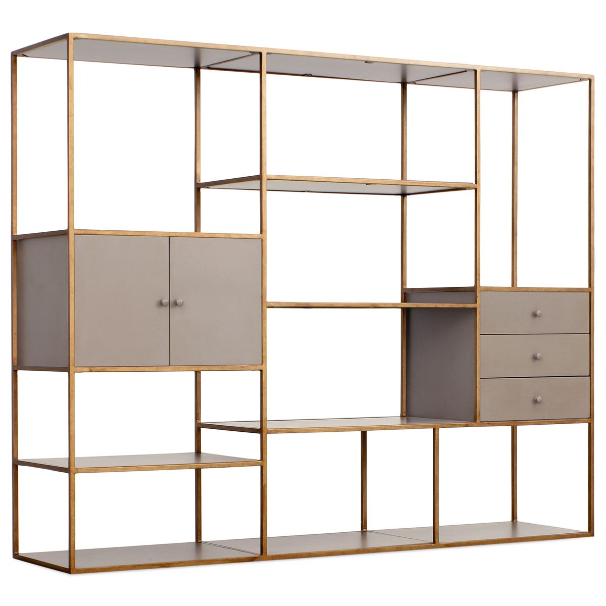 these metal and glass bookshelves are fabulous redford house emerson bookshelf with 3 drawers. Black Bedroom Furniture Sets. Home Design Ideas