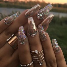 I love how extra these are  full glam nails