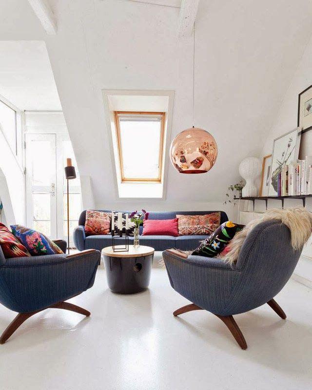 Danish Loft Skylight; White Walls Blue Chairs Sofa; Bright Room