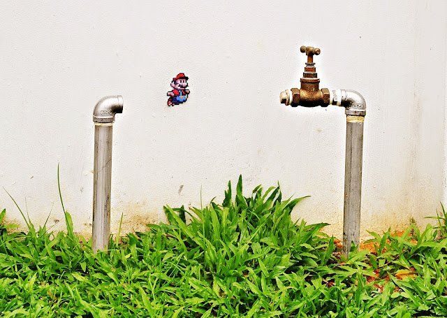 Super Mario Street Art by Hong Yi Red