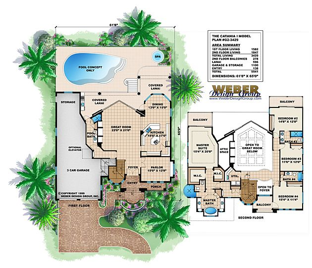 Mediterranean House Plan 2 Story Luxury Home Floor Plan With Pool My House Plans Custom Design House Plans Mediterranean Style House Plans