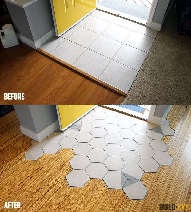 hexagon tile floor transition entrance | DIY - Do It Yourself ...