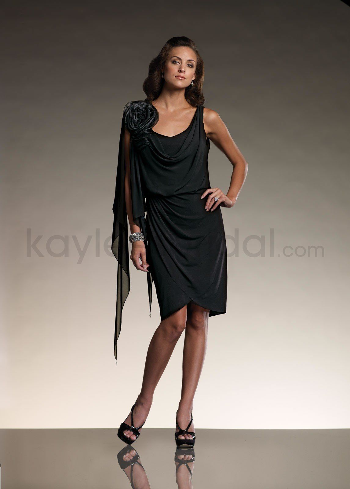 Black dress for wedding party  Matte Jersey Front and Back Cowl Neckline Blouson Bodice Slim knee